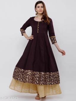 Women Burgundy & Gold-Toned Woven Design Anarkali Kurta
