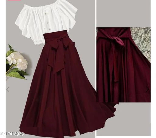 PRS-003 Maroon Skirt & White Top Combo
