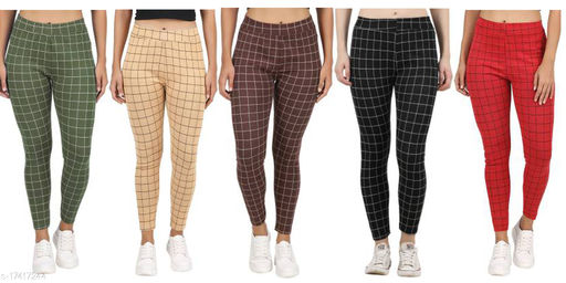Strechable Checkered Jeggings Combo pack of 5