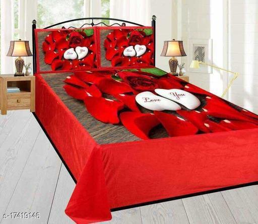 HomeStore-YEP Super Soft Velvet Digital Printed King Size Double Bedsheet - Size 90 x 105 inch-Velentine Special