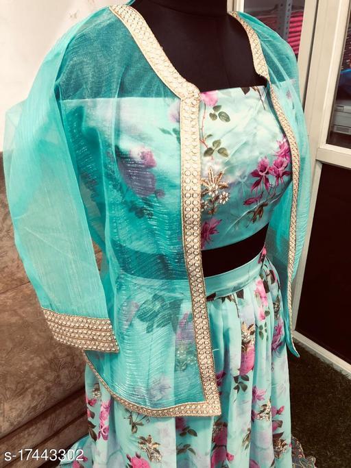 New Printed Silk Lehenga Choli