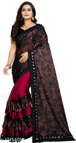 Partywear Lycra Printed Saree with Blouse Piece