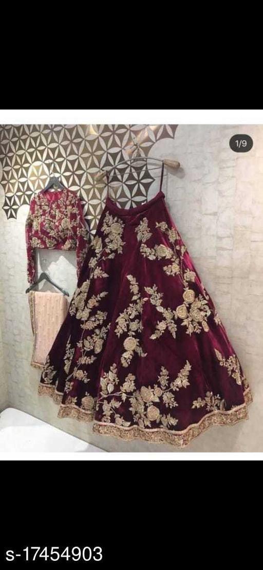 Maroon Colored Party Wear Velevet material Lehengha Choli With Embrodariy Work-VLC70