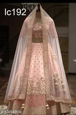 Pastel Pink Cutdana Work Embroidered Silk Material Bridal Lehenga Choli-VLC192