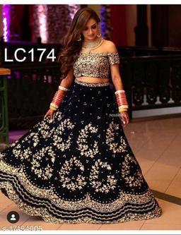 Exceptional Black Colored Partywear Designer Embroidered Velvet Lehenga Choli-VLC174
