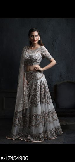 Grey Colored Partywear Designer Embroidered Net with silk Material Lehenga Choli-VLC66