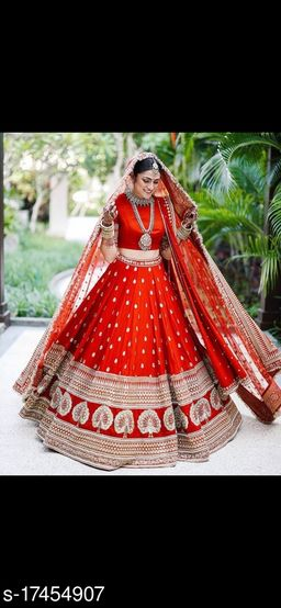 Red Colored Partywear Designer Embroidered Malay Satin New Silk Material Lehenga Choli-VLC251