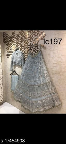 Grey Embroidered Attractive Party Wear Lehenga Choli-VLC197