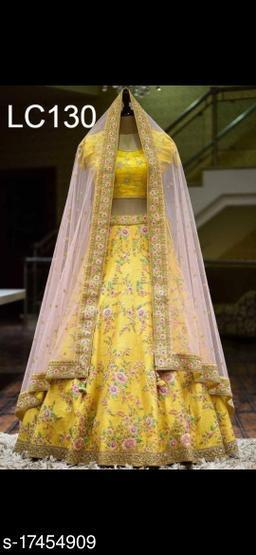 Glorious Yellow Colored Lehengha Choli With Embrodariy Work-VLC130