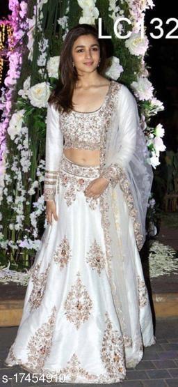Shine White Colored Partywear Designer Embroidered Satin Silk Lehenga Choli-VLC132