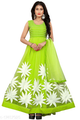Gorgeous Light Green Thread Embroidered Ready-Made Pleated Anarkali Gown