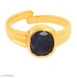 Precious Stone Blue Sapphire  Gold Plated Ring Lab Certified  & Effective Stone Neelam Ring For astrological Purpose