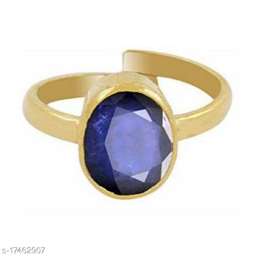5.75 Ratti Original & Certified Stone Neelam/Blue sapphire Gold Plated Ring Effective & Natural Stone Ring