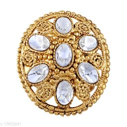 Asmitta Traditional Oval Shape Gold toned Free Size Finger Ring For Women