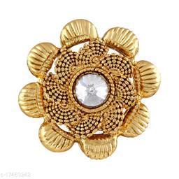 Asmitta Traditional Jalebi design Gold toned Finger Ring For Women