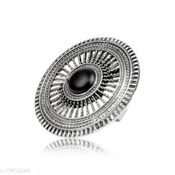 Asmitta Oxidised Silver Adjustable Finger Ring for women and Girls
