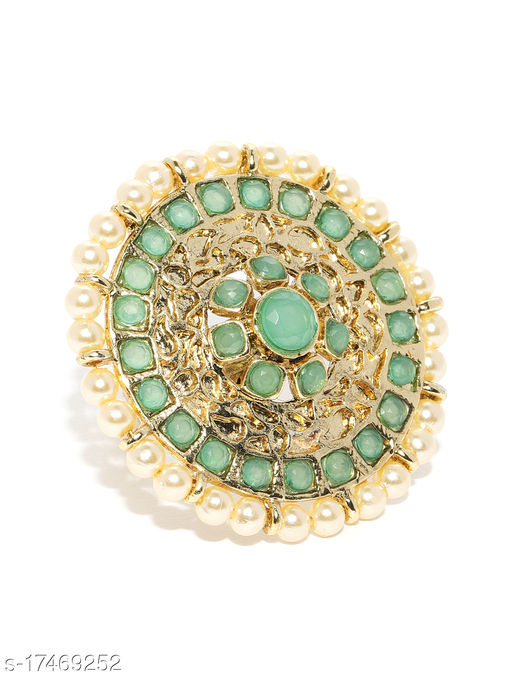 Asmitta Kundan Pearl Studded Fashion Jewellery Gold toned Adjustable Finger Ring for women and Girls