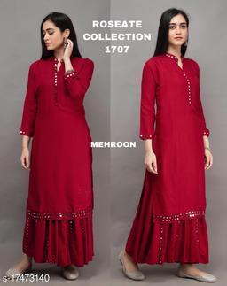 Women Rayon A-line Dyed/ Washed Long Kurti With Palazzos