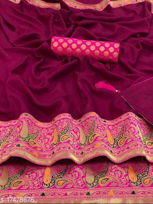 Pari Designer Woven Vichitra Silk Saree with Blouse Piece