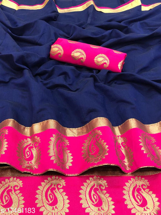Pari Designer Woven Chanderi Poly Cotton Saree with Blouse Piece