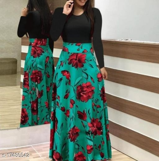 Womens Turquoise_Dress With Flower Print And Black Upper_0102