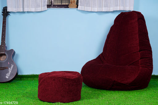 The Bean Bag Theory Premium Fabric Red Tear Drop Jumbo Bean Bag Cover ( Without Beans )