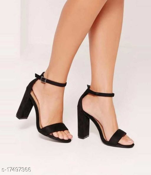 Attractive Women's Velvet Black Heels