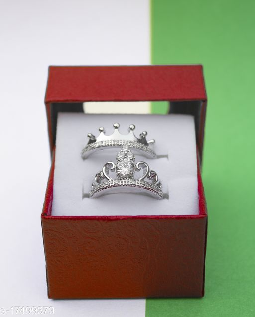 Valentine's Special Platinum Plated CZ Adjustable King & Queen Couple Finger Rings For Love (FL186CO) Brass Diamond Silver Plated Ring