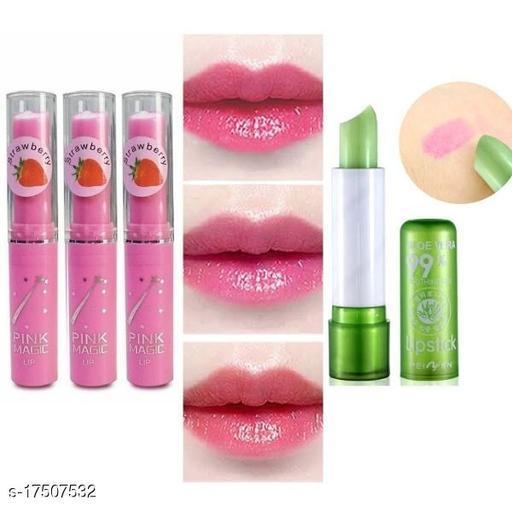 pink magic lip balm (pack of 3)+kiss beauty lip balm (pack of 1)