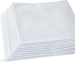 ARNAH TREASURE Plain White Cotton Handkerchiefs for Men Thick Soft White Cotton, Pack of 12 hankerchiefs
