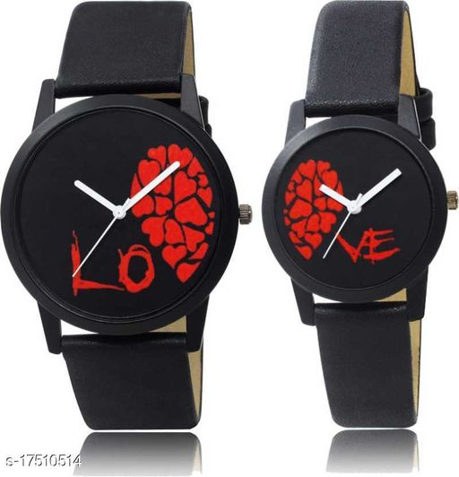 Slim Couple Watch With Half Love Dial Men & Women Analog Watch - For Couple - Pack Of 2