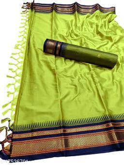Hirkal Traditional Paithani Silk Sarees With Contrast Blouse Piece (Lemon & Navy)
