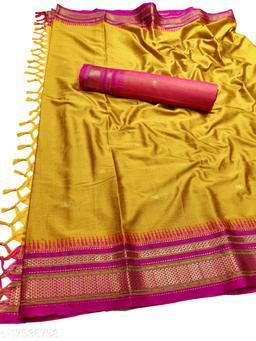 Hirkal Traditional Paithani Silk Sarees With Contrast Blouse Piece (Mustard & Pink)