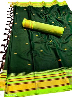 Hirkal Traditional Paithani Silk Sarees With Contrast Blouse Piece (Bottle Green & Neon)