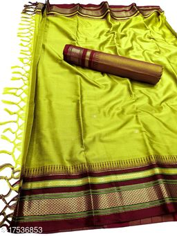 Hirkal Traditional Paithani Silk Sarees With Contrast Blouse Piece (Lemon & Brown)