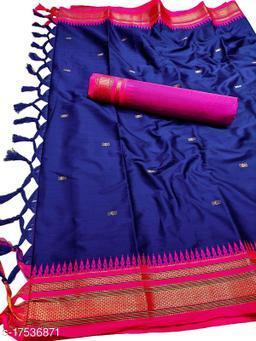 Hirkal Traditional Paithani Silk Sarees With Contrast Blouse Piece (Royal Blue & Pink)