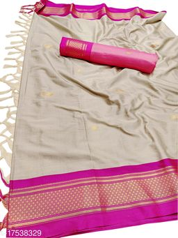 MH Traditional Paithani Silk Sarees With Contrast Blouse Piece (Chiku White & Pink)