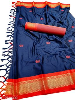 MH Traditional Paithani Silk Sarees With Contrast Blouse Piece (Navy & Red [P.Red])