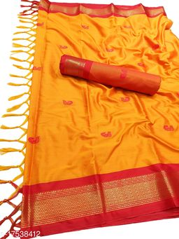 MH Traditional Paithani Silk Sarees With Contrast Blouse Piece (Mano & Red [P.Red])