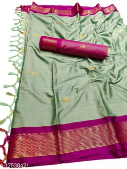 MH Traditional Paithani Silk Sarees With Contrast Blouse Piece (Olive & Wine)