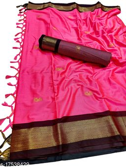 MH Traditional Paithani Silk Sarees With Contrast Blouse Piece (Carrot & Brown)