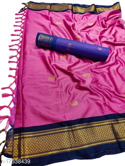MH Traditional Paithani Silk Sarees With Contrast Blouse Piece (Peach & Navy)