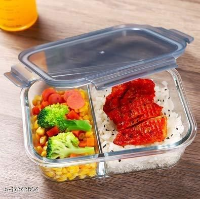 Glass Lunch Box Food Storage Container 2 Partition/ Compartment Lunch Box/ Container and Glass Preservation Box for Kitchen or Outdoor Activities with Lid (600 ml)