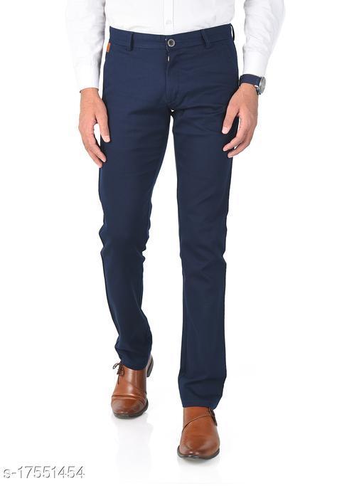 Aristitch Slim Fit Men Navy Cotton Lycra Chinos Pants