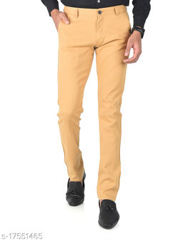 Aristitch Slim Fit Men Bossy Brown Cotton Lycra Chinos Pants