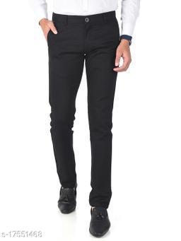 Aristitch Slim Fit Men Black Cotton Lycra Casual Trousers