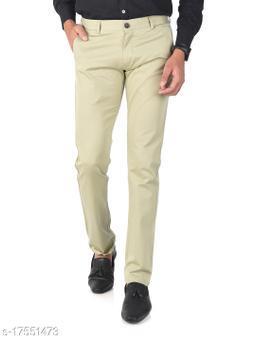 Aristitch Slim Fit Men Greenish Cream Cotton Lycra Casual Trousers