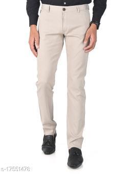 Aristitch Slim Fit Men Classic Cream Cotton Lycra Chinos Pants