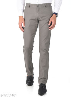 Aristitch Slim Fit Gentle Men Grey Cotton Lycra Casual Trousers