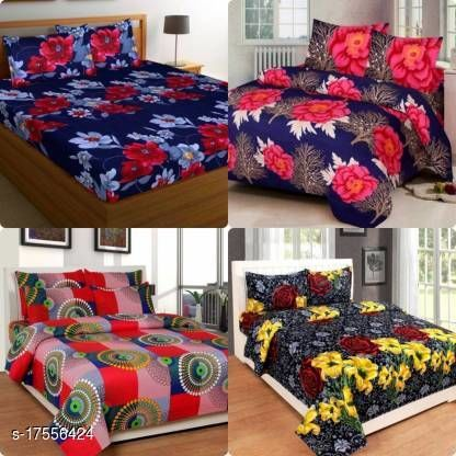 Indian Glace Cotton Double bedsheet 90x90 Pack of 4 Bedsheets With 16 Pillow Covers